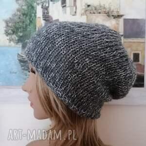 hand-made czapki na wiosnę, lato - Czapka z lnu i cieniutkiej wełenki