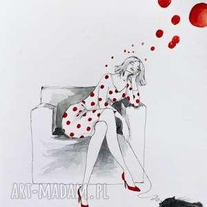 POMYSŁY praca akwarelą i piórkiem artystki plastyka Adriany Laube, grochy, kobieta