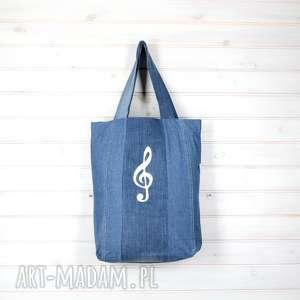Torba dżinsowa klucz wiolinowy muzyka, torba, dżinsowa, pojemna, muzyka
