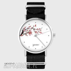 zegarek - kwitnąca wiśnia czarny, nato, zegarek, bransoletka, japonia