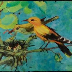 wilgi, obraz, ptaszki, ptak, rodzina dom