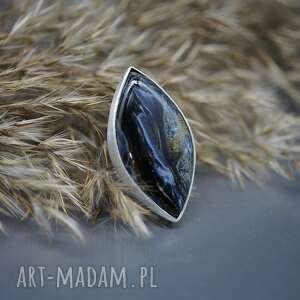 niezwykły pietersite pierścionek mahtan, srebrny pierścionek, rozmiar
