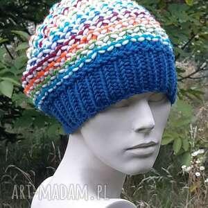czapki czapka papuga petrol 50 wool, papuga, kolorowa, dziergana, zimowa