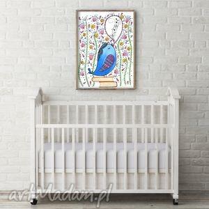 Śpiewający ptaszek A3, ptak, ptaszek, obrazek, ilustracja, plakat
