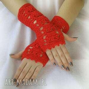 rękawiczki czerwone ażurowe mitenki, rękawiczki, ażurowe, wiosenne