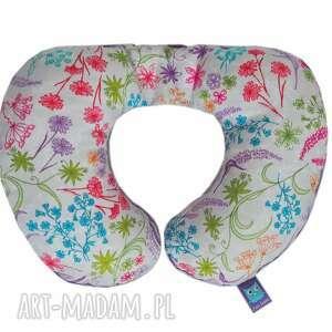 poduszka podróżna, wzór rajski ogród, fioletowa, rogal, kwiaty, minky