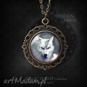 medalion, naszyjnik - biały wilk - romantyczny, antyczny brąz - naszyjnik