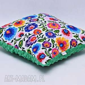 hand made poduszki poduszka łowicka biała z zielonym minky