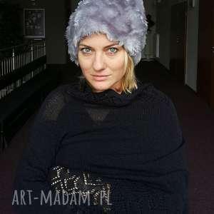 czapka futrzana zimowa ciepła długa handmade kolor szara, futro, ciepła,