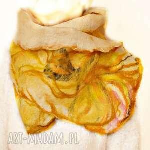handmade szaliki szal nuno filcowany, etola, wełna z merynosów