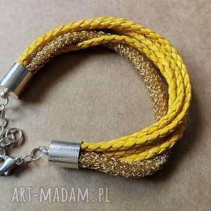 bransoletka kolorowa etno sznurkowa złota, bransoletka, sznurek