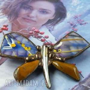 ręcznie robione broszki broszka: motyl malowany błękitno-miedziany