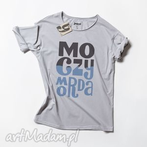 MOCZYMORDA koszulka z nadrukiem, tshirt, unisex, oversize, koszulka, szara, napis