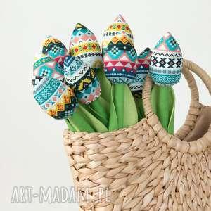 tulipany folkowy bawełniany bukiet, bawełniane tulipany, kwiaty, prezent
