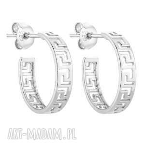 srebrne kolczyki z greckim wzorem sotho - półkola, ażurowe