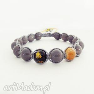 grey and yellow, bransoleta, męska, makrama, zkoralików, unisex męska biżuteria