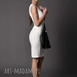 sukienki sukienka klasyczna, etui/ ecru - monique 38, 40, 42, klasyczna