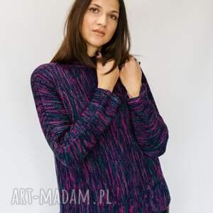 sweter melanżowy granat-fuksja-szmaragd, ciepły sweter, wełniany na zimę