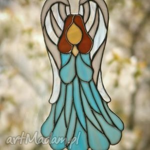 anioł błękit witrażowy, anioł, witraż, ślub, komunia, chrzest dom