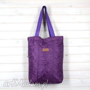 Shopperka torba pikowana śliwka - torebka, shopperka, pikowana, śliwka, pik