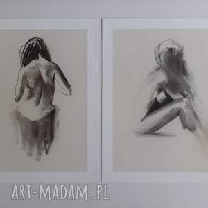 komplet grafik 30x40cm, obraz do salonu, zmysłowy obraz, grafika postać kobiety