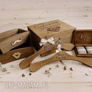 ślub zestaw ślubny, ślub, pudełko, rustykalne, obrączki, drewniane, wieszaki