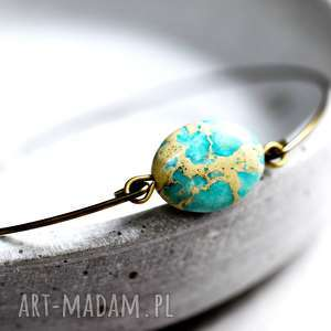 jaspis bransoletka, kamień, turkus, brąz, prezent, lekka, elegancka
