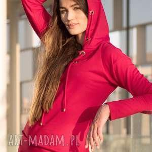 Bien Fashion Bluza damska z kapturem taliowana metalowymi kółkami, hoodie, kaptur