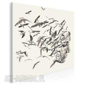 obraz na płótnie - portret ptaki w kwadracie 80x80 cm 61402, twarz