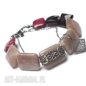 sun stone - bransoletka, kamieńsłoneczny, srebro, jaspis, kwarc, granat, oksydowane