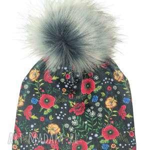 czapki czapka beanie pompon z futra, nadruk, kwiaty, pompon, urodziny, czapka, czapa