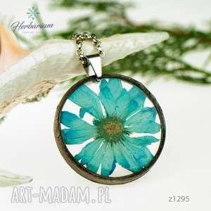 błękit nieba pod taflą wody z1295 - naszyjnik z kwiatem, biżuteria z