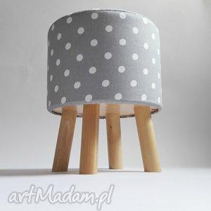 Pufa Szare Grochy - 36 cm, pufa, taboret, ryczka, stołek
