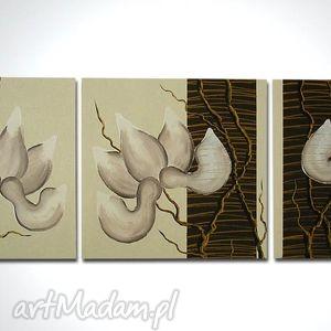 obrazy obraz ręcznie malowany - magnolie 12 -120x40cm płótno, obraz, płótnie