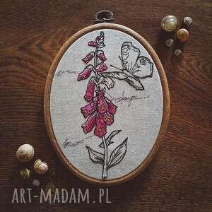 obrazek haftowany botanical - roślinne, lniane