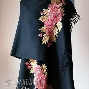 nicią malowane 100 wełna, czarny szal z wełny, haft maszynowy