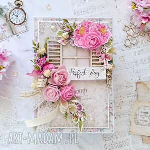 Kartka perfect day w stylu shabby chic scrapbooking kartki made
