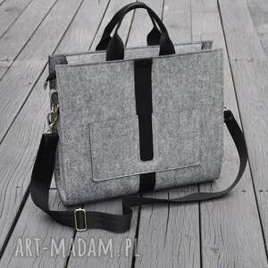 designerska torba z filcu - szara, filcowa, filc, codzienna, modna, torebka