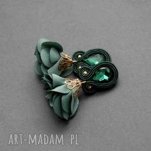 kolczyki sutasz z kwiatkiem, sznurek, eleganckie, wiszące, szmaragdowe, małe, kwiat