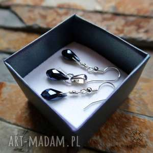 srebrny delikatny komplet biżuterii czarne krople, czarne, kropla, kryształy
