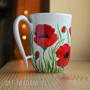 ciepliki kubek ręcznie malowany ceramiczny maki 300 ml, ceramika