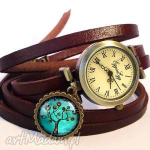 drzewo nadziei - zegarek bransoletka na skórzanym pasku romantyczny