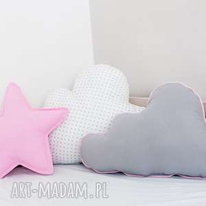 zestaw 3 poduch różowo-biały, poduszka-chmurka, poduszka-gwiazdka, różowa-poduszka