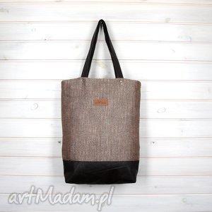 klasyczna shopperka brązowa pojemna, torebka, brązowa, wytrzymała, laptop