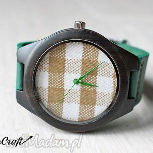hebanowy zegarek kratka, zegarek, heban, drewniany, skóra