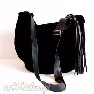 hobo, handmade, czarna, listonoszka torebki