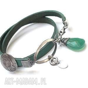 Emerald vol. 2 - bransoletka, skóra, rzemień, srebro, oksydowane, onykszielony