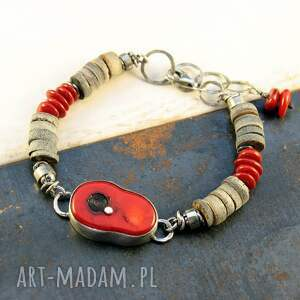 koral, muszla i pocałunki słońca, srebrna bransoletka, koral czerwony