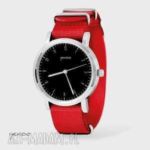 handmade zegarki zegarek, bransoletka - simple elegance, czarny - czerwony, nato
