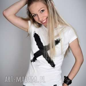 koszulka biała x - damska, bluzka, minimal, t shirt, prezent, wygodna